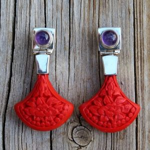 Vintage 925 Sajen Amethyst & Cinnabar Earrings
